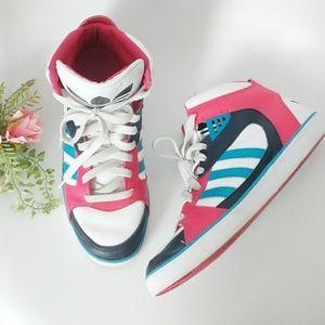 Adidas Pink Color Block High Top Sneakers 8.5